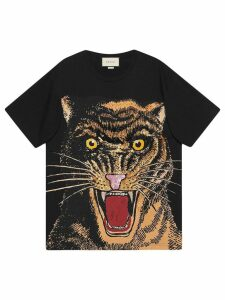Gucci Oversized T-shirt with feline print - Black
