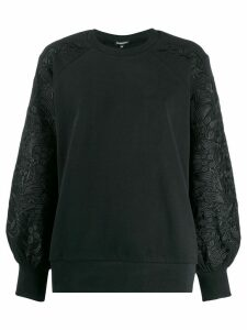 Ann Demeulemeester embroidered sleeve sweatshirt - Black