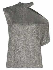 RtA metallic cut-out asymmetric T-shirt - SILVER