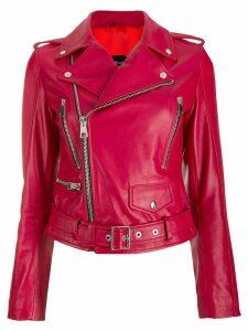 Manokhi leather biker jacket - Red