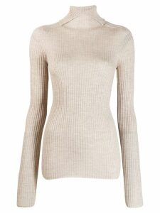 Jil Sander turtleneck ribbed knit sweater - NEUTRALS