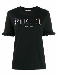 Emilio Pucci ruffled sleeves logo T-shirt - Black