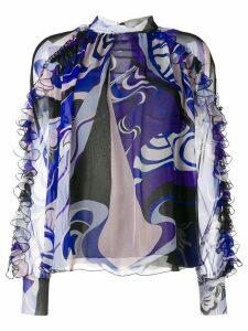 Emilio Pucci Hanami Print High Neck Silk Ruffled Blouse - Blue
