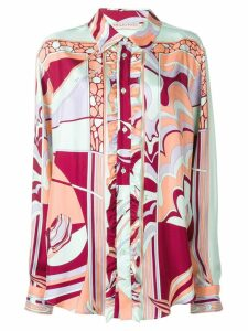 Emilio Pucci Mirei ruffle front silk shirt - ORANGE