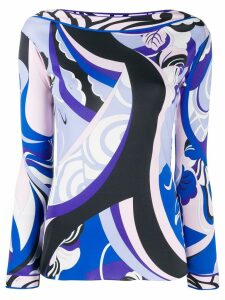 Emilio Pucci boat neck printed blouse - Blue