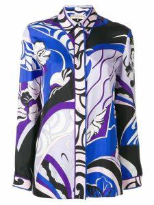 Emilio Pucci Hanami Print Silk Shirt - Blue