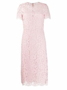 Valentino floral lace fitted dress - Pink