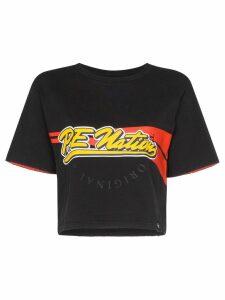 P.E Nation Pitcher logo print crop top - Black