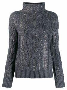 Ermanno Scervino embellished mock neck jumper - Grey