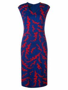 Escada leaf-print dress - Blue