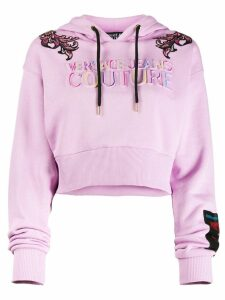 Versace Jeans Couture logo embroidered cropped hoodie - Pink