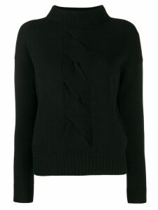 D.Exterior cable knit detail jumper - Black
