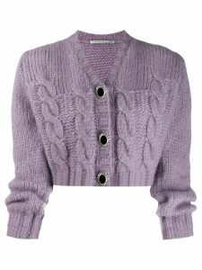 Alessandra Rich cropped knit cardigan - Purple