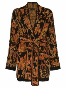 Etro Ikat intarsia knit wrap cardigan - Brown