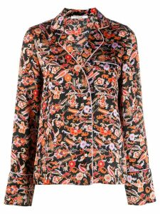 Derek Lam 10 Crosby Long SLeeve Paisley Print Pajama Shirt - Black