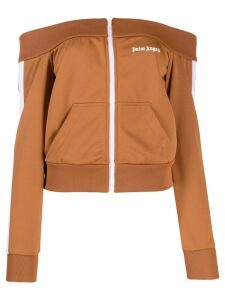 Palm Angels off-shoulder track top - Brown