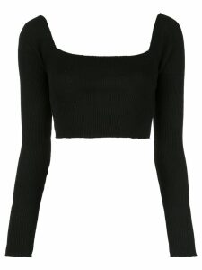 Callipygian ribbed cropped top - Black