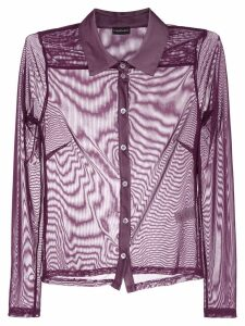 Callipygian slim-fit sheer shirt - Purple