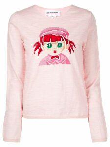 Comme Des Garçons Girl 'Girl' print knitted top - Pink