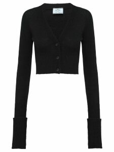 Prada cropped rib-knit cardigan - Black