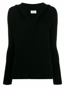 Allude ribbed V-neck sweater - Black