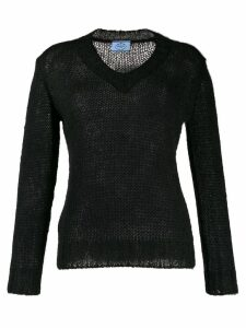Prada open knit V-neck jumper - Black