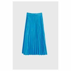 Chinti & Parker Blue Pleated Crepe De Chine Midi Skirt