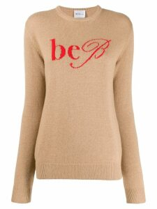 be blumarine logo intarsia jumper - NEUTRALS