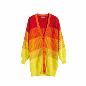 Chinti & Parker Orange-ombre Riviera Stripe Chunky Knit Cardigan