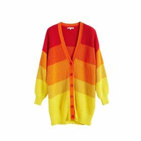 Chinti & Parker Orange-ombre Riviera Stripe Chunky Knit Cardigan
