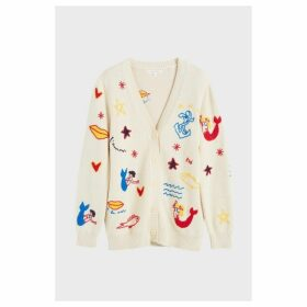 Chinti & Parker Cream Mermaid Chunky Knit Cardigan