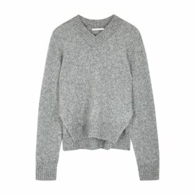 Helmut Lang Grey Brushed Wool-blend Jumper