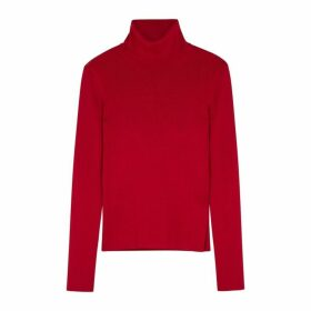Helmut Lang Red High-neck Stretch-knit Jumper