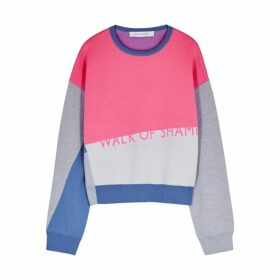 Walk Of Shame Colour Block Logo Intarsia Wool Jumper