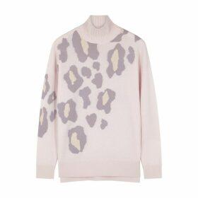 Duffy Leopard Print Fine-knit Cashmere Jumper