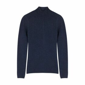 Duffy Navy Roll-neck Cashmere Jumper
