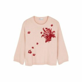 RED Valentino Pink Floral-embroidered Wool-blend Jumper