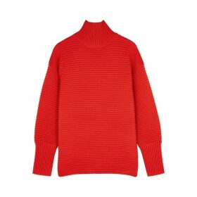 Victoria, Victoria Beckham Red Ribbed Wool Jumper