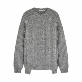 Stella McCartney Grey Cable-knit Alpaca-blend Jumper