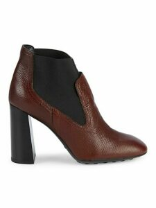 Donna Leather Pull-On Ankle Boots