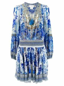 Camilla shirred flared midi dress - Blue