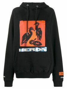 Heron Preston logo print hoodie - Black
