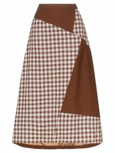 Rejina Pyo check patch midi skirt - Brown