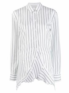 Y/Project striped asymmetric-hem shirt - White