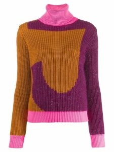 Just Cavalli roll neck logo sweater - PURPLE