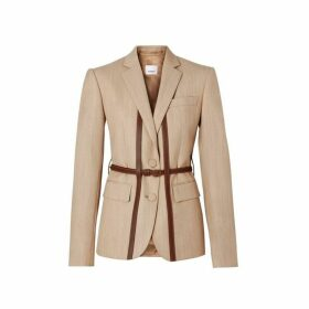 Burberry Leather Harness Detail Wool Tailored Jacket