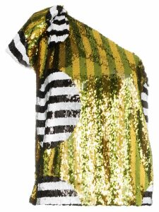 Halpern one-shoulder sequin-embellished top - MULTICOLOURED