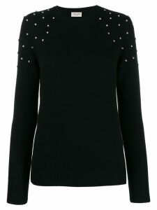 Saint Laurent cashmere crystal-embellished sweater - Black
