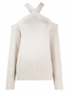 Nude knitted cold shoulder top - NEUTRALS