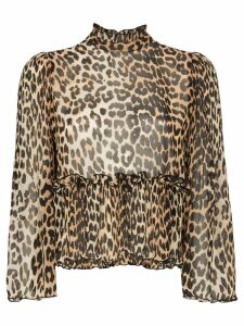 GANNI high neck leopard print blouse - Brown